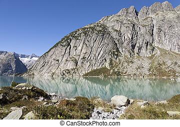 Gelmersee or Lake Gelmer, a hydroelectric reservoir,...