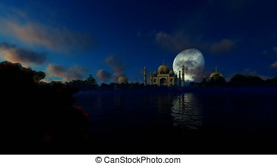 Taj Mahal against full moon with beautiful lake reflections,...