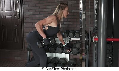 woman doing exercise with dumbbells - Woman athlete performs...