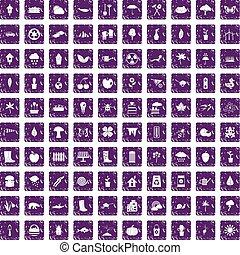 100 garden stuff icons set grunge purple - 100 garden stuff...
