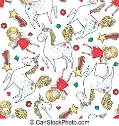 Hand drawn seamless pattern with Unicorn and Fairy. Cute...