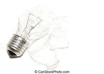 Broken Light bulb on a white background.