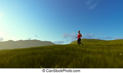 Woman running on green meadow, tree of life, morning