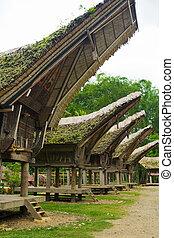 Peaked Roof of Tana Toraja Boat House - A row of peaked...