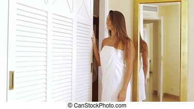 Charming girl preparing in morning - Young excited woman...
