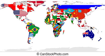 World map flags - Map of World with flags in relevant...