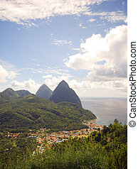 panorama twin Pitons Soufriere St Lucia - panoramic view of...