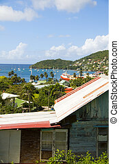 panoramic rooftop view of cruise ships houses stores Port...