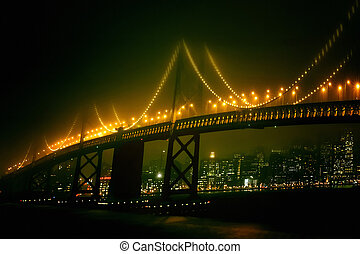 frisco night - San Francisco night view of the bridge