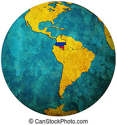 colombia flag on globe map - colombia territory with flag on...
