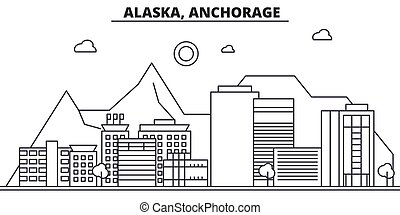 Alaska, Anchorage architecture line skyline illustration....