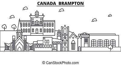 Canada, Brampton architecture line skyline illustration....