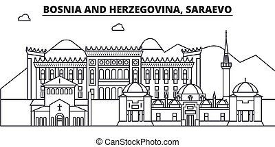 Bosnia And Herzegovina, Saraevo architecture line skyline...