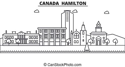 Canada Hamilton line skyline illustration. Linear vector...