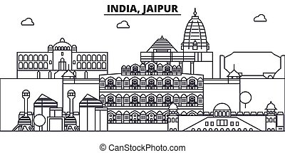 India, Jaipur architecture line skyline illustration. Linear...