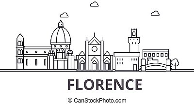 Florence architecture line skyline illustration. Linear...