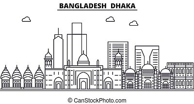 Bangladesh, Dhaka architecture line skyline illustration....
