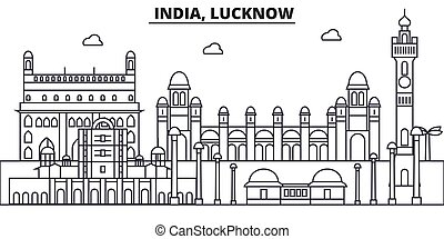 India, Lucknow architecture line skyline illustration....