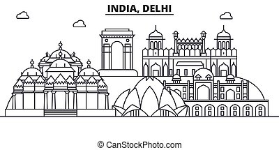 India, Delhi architecture line skyline illustration. Linear...