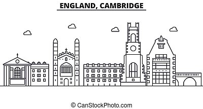 England, Cambridge architecture line skyline illustration....