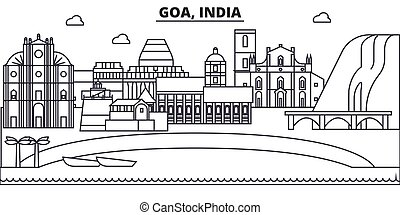 Goa, India architecture line skyline illustration. Linear...