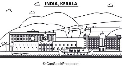 India, Kerala architecture line skyline illustration. Linear...