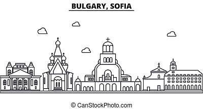Bulgaria, Sofia architecture line skyline illustration....