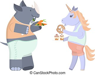 animal character on a diet - Funny animal character on a...