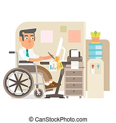 Wheelchair person in office - Differently abled person...