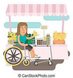 Wheelchair shopping - Differently abled female shopping on...