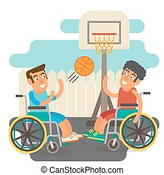 Wheelchair sports - Differently abled male on wheelchairs...