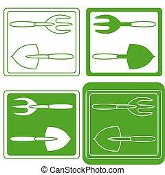 Set of gardening tools logo