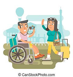 Wheelchair travel couple - Differently abled male on...