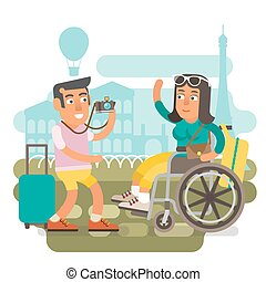 Wheelchair travel couple - Differently abled girl on...