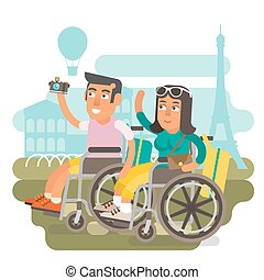 Wheelchair travel couple - Differently abled couple on...