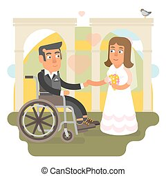 Wheelchair wedding - Differently abled husband on wheelchair...