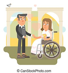 Wheelchair wedding - Differently abled bride on wheelchair...