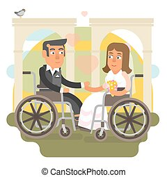 Wheelchair wedding - Differently abled couple on wheelchair...