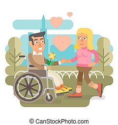 Wheelchair couple dating - Differently abled male on...