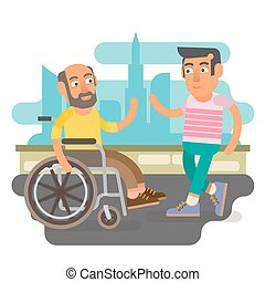 Wheelchair friends - Differently abled male on wheelchair...
