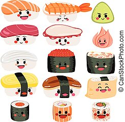 Sushi Cute Set - Funny cute happy sushi and sashimi...