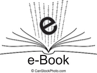 e-book  - open book and binary number with e