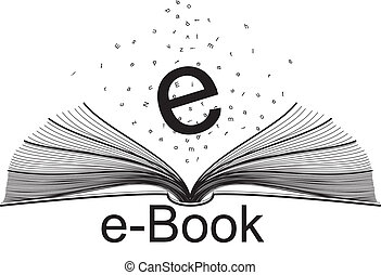 e-book and letters - open book and letters with e