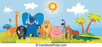 cute africa animals - vector illustration of a cute africa...