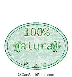 100 natural - red stamp with the text 100 natural text...