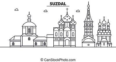 Russia, Suzdal architecture line skyline illustration....