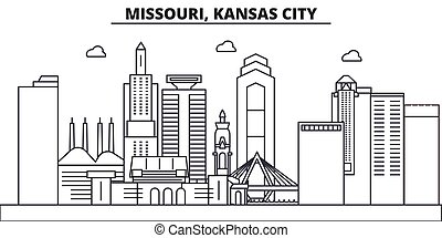 Missouri, Kansas City architecture line skyline...