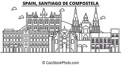 Spain, Santiago De Compostela architecture line skyline...
