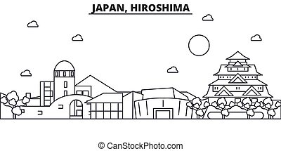 Japan, Hiroshima architecture line skyline illustration....