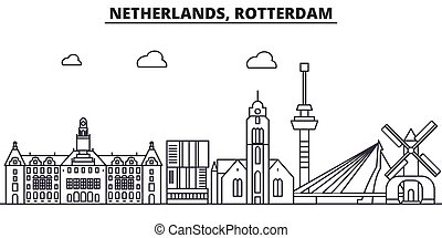 Netherlands, Rotterdam architecture line skyline...
